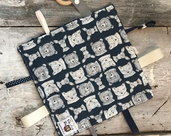 Baby Little toy blanket, bears, foxes and deers on dark navy background, soft navy minky on the other side