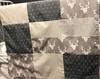Baby crib blanket ,minky blanket, handmade quilt, quilted crib blanket, deers, grey and beige
