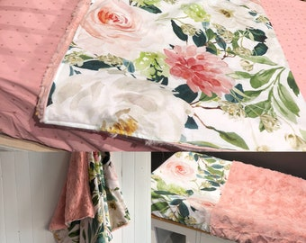 Baby crib bedding including blanket (cotton & fur) a fitted sheet, a changing pad cover and 1 decorative pillow(see pictures in the listing)