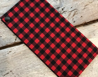 Protects health record, red and black Plaid, Black Interior