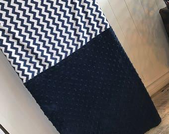 crib sheet for changing mat, navy chevron, navy minky