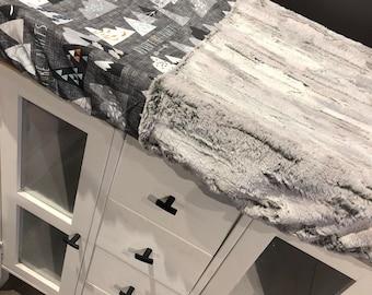 crib sheet for changing mat, white X on dark (charcoal) grey, grey minky