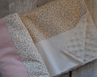 Baby crib blanket ,minky blanket, handmade quilt, quilted crib blanket, little flowers, ivory and pink. Fur or minky on the back side