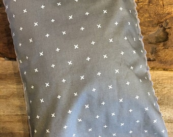 Baby buckwheat scales pillow, dark grey with white X