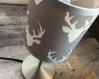 """Small gray deer pattern desk lamp. height 12 """"circumference 5"""". Lampshade fabric that provides a diffuse and decorative lighting"""