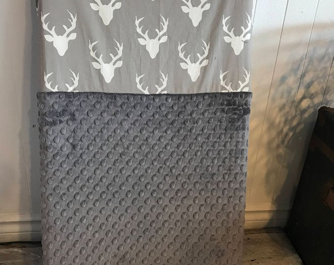 Featured listing image: crib sheet for changing mat, deers heads on grey, choice of minky color in the options (see pictures)