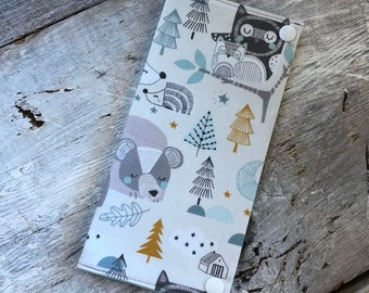 Health booklet protection cover, forest animals aqua/mustard interior pattern wire aqua