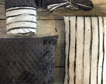 """LAST available blanket (blanket) size 28 x 40 """"stripes 'watercolors' gray minky backing, table cover has diaper matching 2 cushions"""