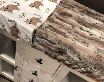 crib sheet for changing mat, wolves and faux fur