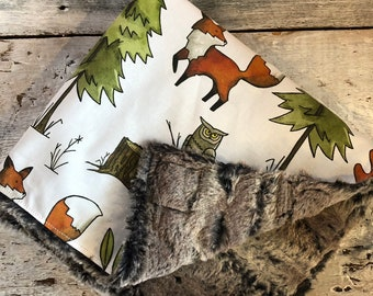 """Limited edition, moose and fox on cotton side, fake fur on the back side. 28x40"""" or 40x50"""""""