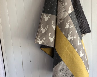 Baby blanket ,handmade baby quilt, deer heads, white hearts on gold yellow, x on dark grey, grey oval