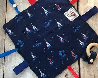baby 'Rikiki' blanket sailboats and navy minky