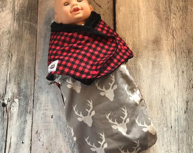 Featured listing image: Small cocoon, Sleeping bag, sleep bag, swaddling blanket, Newborn (0-3 months) Gray deer and red / black tiles, soft black interior