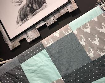 Baby blanket ,deer heads, x on dark grey, aqua/light blue pattern, grey minky