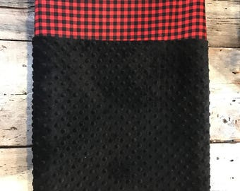 crib sheet for changing mat, changing mat cover, red and black checkers, black minky