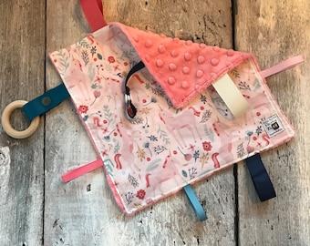 Unicorn baby 'Rikiki' blanket, minky blankie, ribbons, pacifier or toy holder, unicorn blanket, coral minky