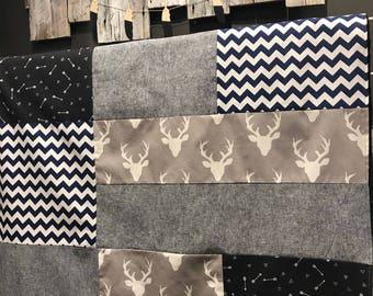 Handmade Baby quilt blanket ,deer, feathers, navy chevron, denim navy. Navy minky