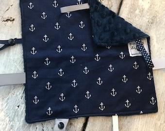 baby 'Rikiki' blanket, white anchors on navy, navy or grey minky