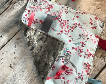 Baby Little toy blanket, cherry trees. blankie. ribbons blanket fake fur on the back side