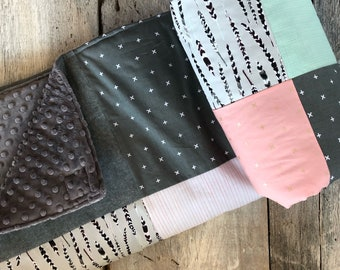 Baby crib blanket ,minky blanket, handmade quilt, quilted crib blanket, checkers, deers, birch trees,choice of faux fur or minky on backside