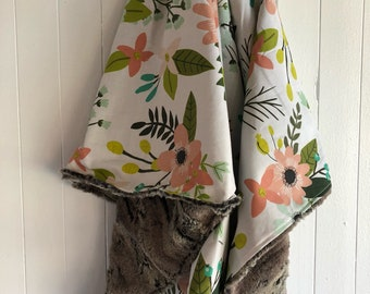 """Limited edition, Baby blanket ,tropical flowers cotton side, fake fur on the back side. 28x40"""""""