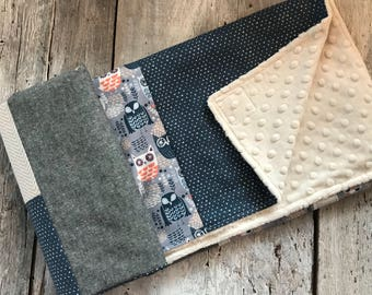 Baby blanket ,handmade baby quilt, blue ans coral owls, white hearts on navy, grey and beige fabrics. minky color choice for the back side
