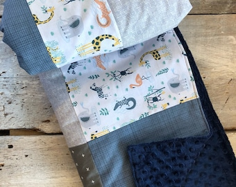 Baby crib blanket, quilt style , grey foxes, navy storm, denim, arrows on black, grey or navy minky (back)