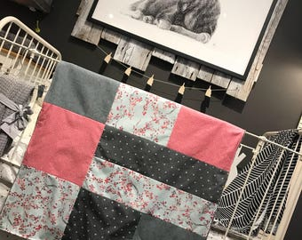 Baby blanket ,handmade baby quilt, cherry trees, pink bubbles, white X on dark grey. Grey minky on the back
