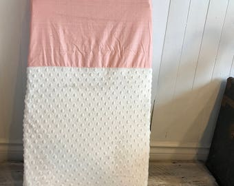 crib sheet for changing mat, peach grid and ivory minky