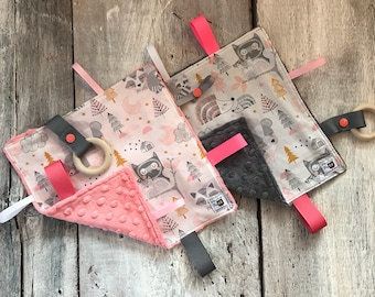 Baby Little toy blanket, forest animals ( owls, foxes, wolves, deers ) minky can be grey or coral