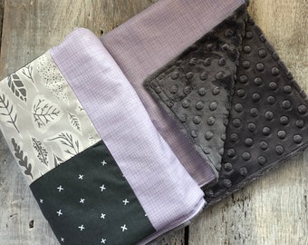 Baby blanket grey leafs, lavender grid, white X on dark grey, choice of minky or faux fur for the back