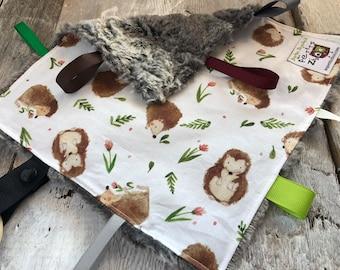 Baby Little toy blanket, vintage animals,  blankie. ribbons blanket. Fake fur on the back side