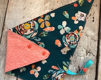 Reversible and waterproof bandana bib, cherry trees and raspberry lines on other side