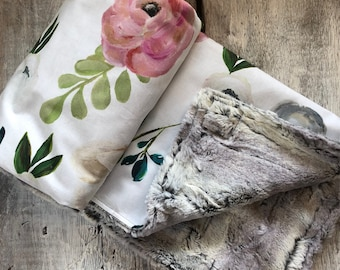 """Limited edition, Baby blanket ,big watercolor style flowers cotton side, fake fur on the back side. 28x40"""""""