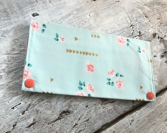 Protects health record, vintage floral, Interior peach