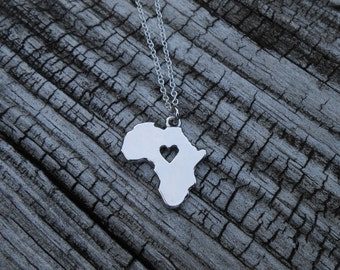 I Love Africa Necklace Heart Africa Jewelry African Continent Necklace Geography Necklace Africa Charm Jewelry Map Necklace Gifts for Her