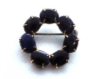 1940s Vintage 14k Gold filled over sterling silver blue glass gemstone link Symmetalic bracelet by WRE W.E Richards Co.