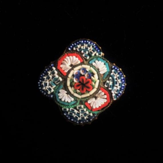 Vintage Novelty Shaped Italian Micro Mosaic Brooch - image 1