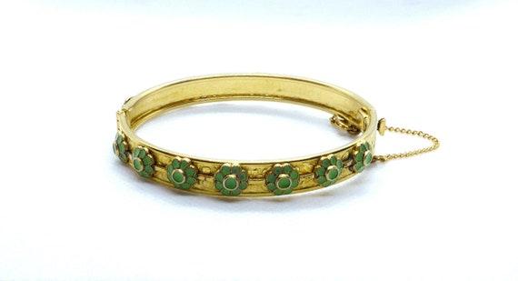 Vintage Freirich Cherub Hinged Cuff Bracelet Victorian Revival 1960s Wide Gold Tone