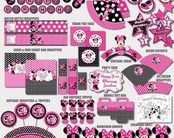 SAME DAY SVC Minnie Mouse Party Decorations Birthday Printable Supplies Pink And Black Polka Dot