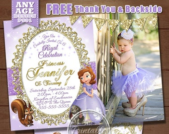 Sofia the First Birthday Invitation, Princess Photo Invitation, Sofia the First Birthday Party Invitation, Silver Glitter, Gold Glitter