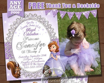Sofia the first birthday invitation, Princess Sofia birthday Invitation, Sofia the first birthday, Sofia the first party, Princess Sofia