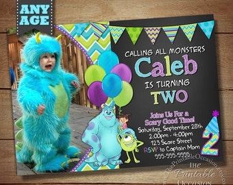 Monster Inc Invitation, Monster Inc Photo Invitation, Monster Birthday Party Invitation, Monster University Invitation