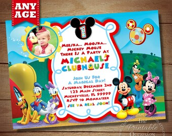 Mickey Mouse ClubHouse Invitation, Mickey Invitation, Clubhouse Invitation, Minnie Mouse ClubHouse Invitation, Mickey ClubHouse Invitation