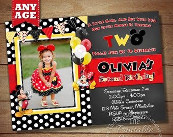 ANY AGE Red and Yellow Minnie Mouse Birthday Invitation, Red Minnie Mouse Invitation, Red Polka Dot Minnie Invitation Printable Invitation