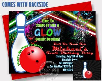 bowling invitations etsy