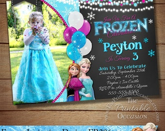 SAME DAY SVC Frozen Birthday Invitation Party Digital Chalkboard