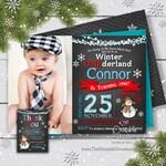 SAME DAY SVC Boy's Winter Onederland Invitation, Winter Onderland Party, First Birthday, Printable, Photo Invitation, Winter Invitation