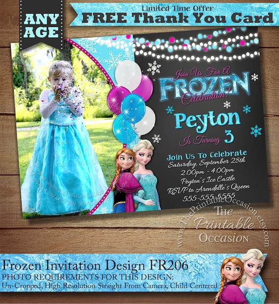 SAME DAY SVC Frozen Birthday Invitation