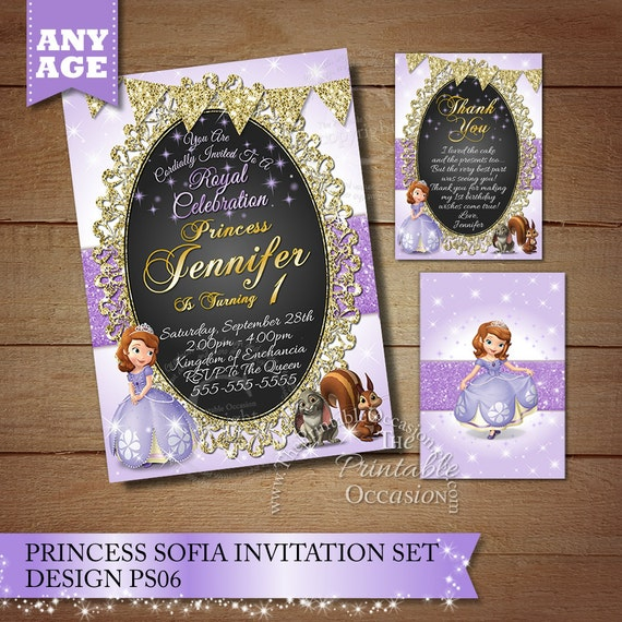Same Day Svc Sofia The First Birthday Invitation Princess Etsy